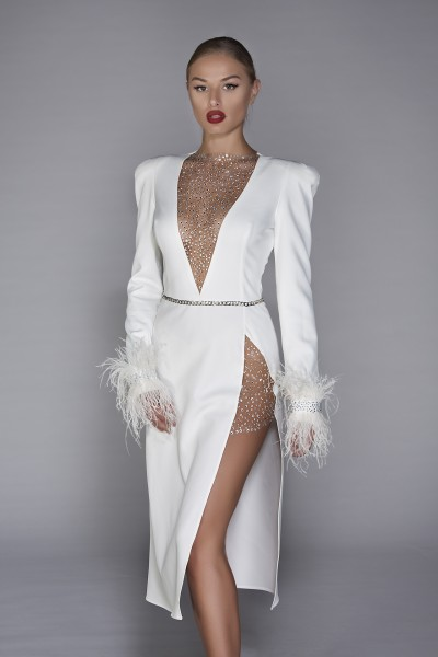 """Sensualite"" Dress white formal dress"
